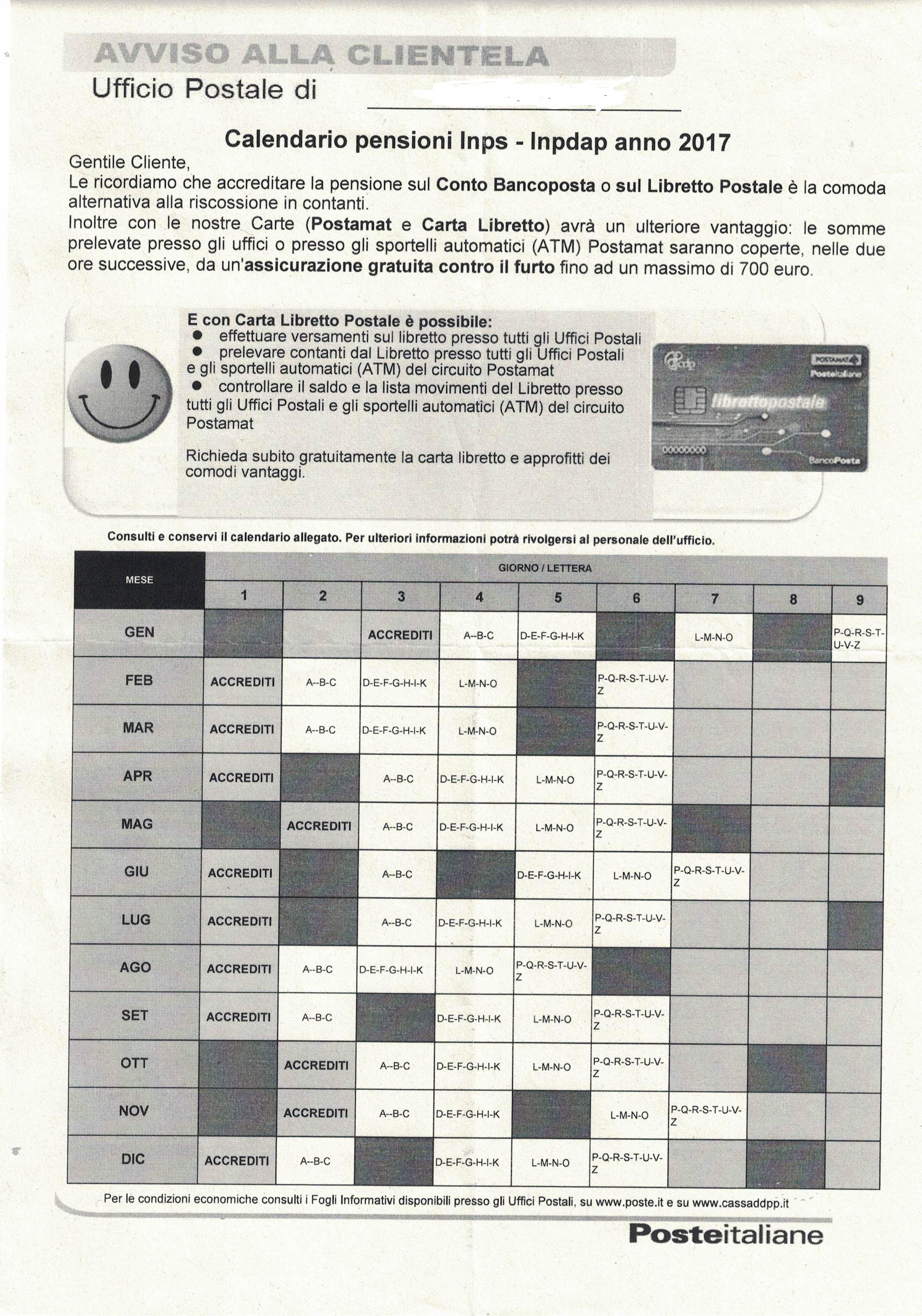 Calendario Pensioni Inps 2020.Poste Italiane Il Nuovo Calendario Pensioni Inps Inpdap